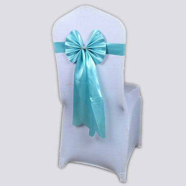 Бант на стул из креп-сатина голубой