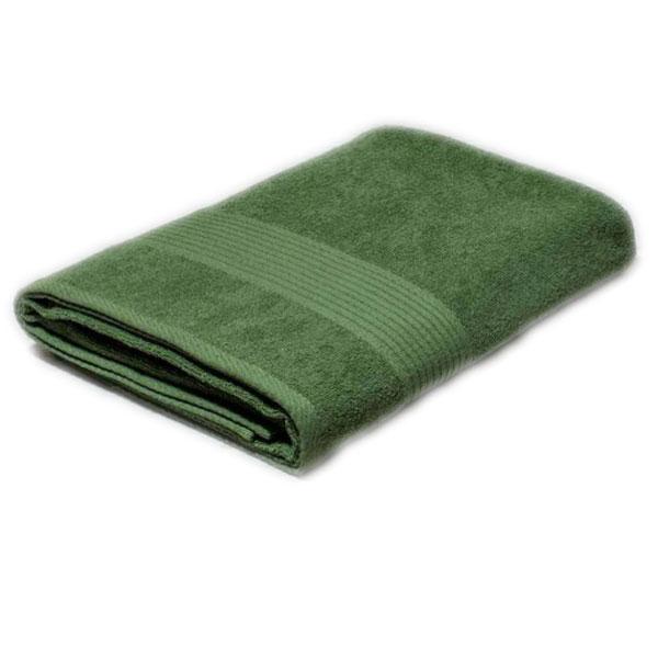 Полотенце махровое зеленое с бордюром