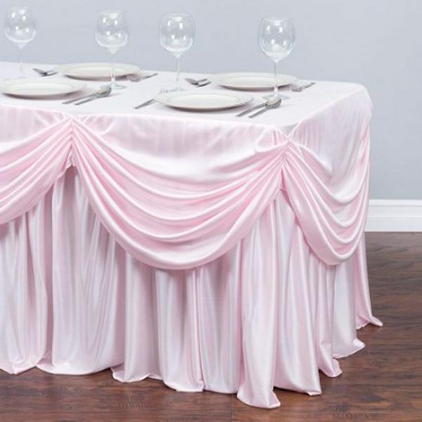 Фуршетная юбка с декором розовая
