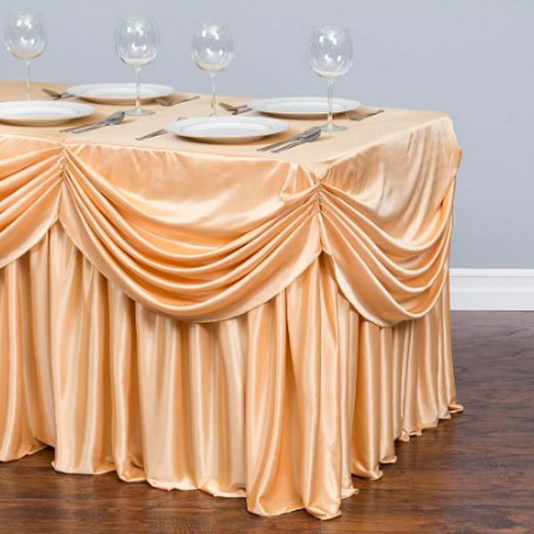 Фуршетная юбка с декором золотая