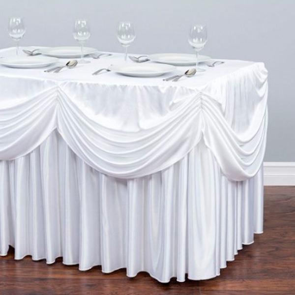 Фуршетная юбка с декором белая