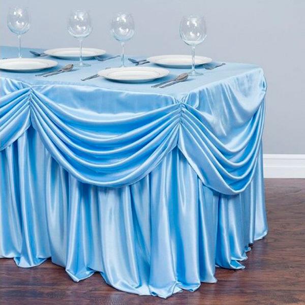 Фуршетная юбка с декором голубая